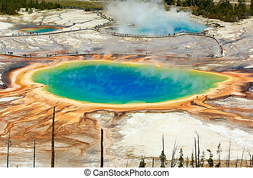 Grand Prismatic pool seen from the top - birds-eye view of...