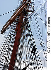 Sail ship mast - Sailors at masts of sail ship