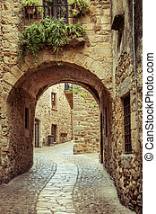 Pals - Street detail of Pals, small medieval village of...