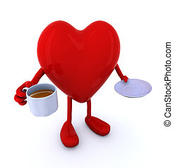 heart with arms and legs and cup of coffee, 3d illustration