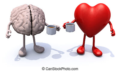 human brain and heart with arms and legs and cup of coffee,...