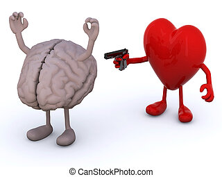 feelings conflict concept - human brain and heart with arms...