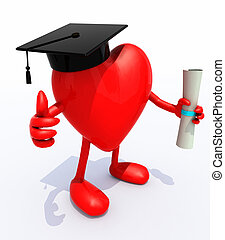 heart with arms and legs, Graduation Cap and Diploma, 3d...