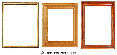 three wooden picture frames with cut out canvas isolated on...