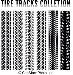 Tire tracks collection. Vector illustration on white...
