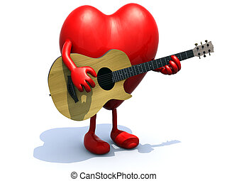 heart with arms and legs playing a guitar, love serenade...