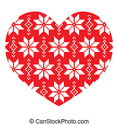 Nordic, winter red heart pattern - Scandinavian vector...