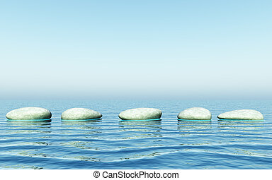 step stones - An illustration of step stones in the sea