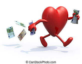 heart with arms and legs run away with money - heart with...