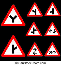 Eight Triangle Shape Red White Road Signs Set 2 - Vector...