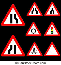 Eight Triangle Shape Red White Road Signs Set 3 - Vector...