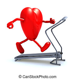 heart on a running machine - heart with arms and legs on a...