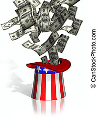 Uncle Sam collecting taxes - Illustration of money falling...