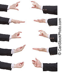 set of businessman hands showing sizes - hand gesture...