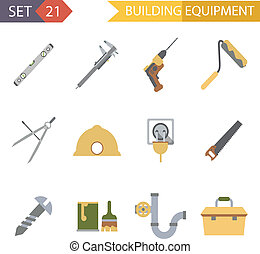 Retro Flat Building Equipment Icons and Construction Tools...