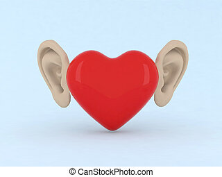 heart with ears 3d illustration