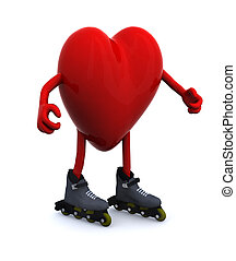 heart with arms, legs and rollerskates, 3d illustration