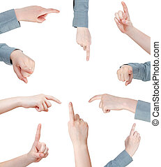 set of female pressing forefinger - hand gesture isolated on...