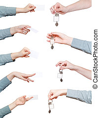 set of hand with blank keyring and card