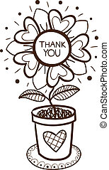 Flower in a pot with thank you text. Sketch vector...