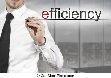 businessman writing efficiency in the air