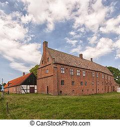 Esrum Kloster from rear - ESRUM, DENMARK - JULY 18: Tourists...