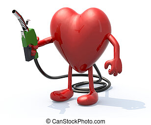 heart with arms, legs and fuel pump in hand, 3d illustration
