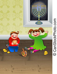 Children Celebrating Chanukah - Cartoon illustration of two...