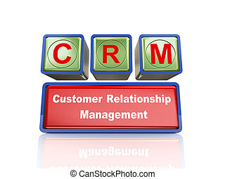 3d boxes of concept of crm