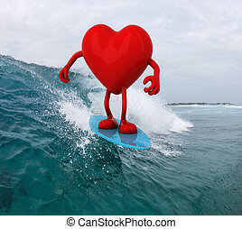 heart with arms and legs surfing on the sea, 3d illustration