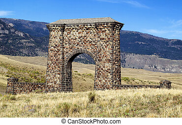 Stone Archway Entrance to Yellowstone National Park -...