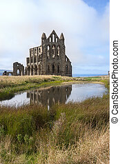 Whitby Abbey, Whitby England next to pond with reflection in...