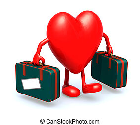 heart with arms and legs that take a suitcase, 3d...