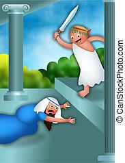 Hanukkah and Antiochus the Greek - Cartoon Hanukkah...