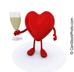 heart make cheers with glasse of white wine, 3d illustration