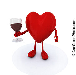 heart with arms and legs and glass of red wine, 3d...