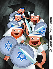 Hanukkah and the Maccabees - Cartoon Hanukkah illustration...