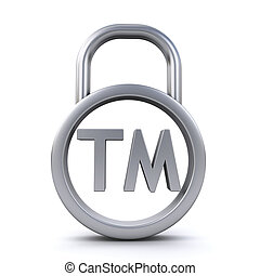 trademark sign padlock - Padlock with trademark sign on the...