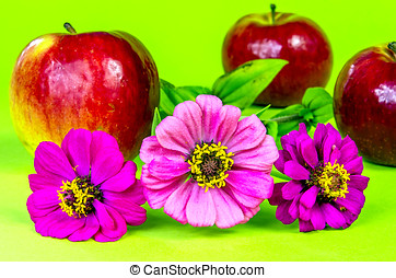 Three flowers with apples