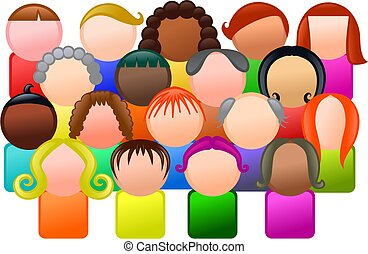 Diverse Community - Simple icon style group of faceless and...