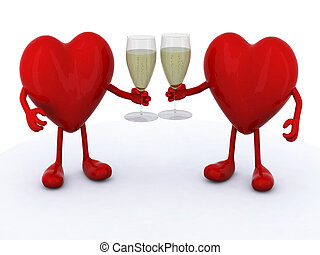 two hearts with glass of white wine - two red hearts with...