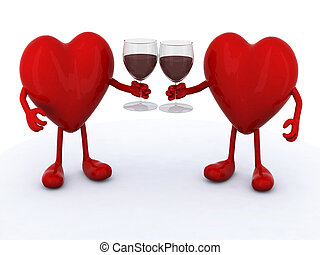 two hearts with glass of red wine - two red hearts with arms...
