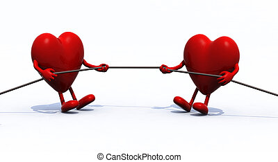 two hearts tug of war rope, 3d illustration