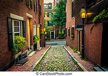 Acorn Street, in Beacon Hill, Boston, Massachusetts. - Acorn...
