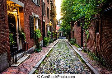 Acorn Street, in Beacon Hill, Boston, Massachusetts. - Acorn...