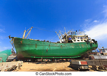 Ship in dry dock during the overhaul