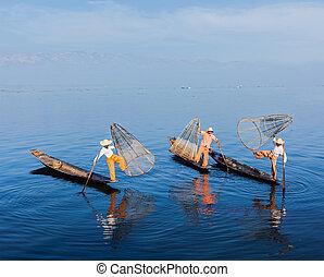 Birmano, pescadores, Inle, lago, Myanmar