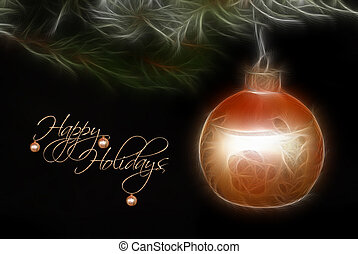 Happy Holidays - Gold holiday ornament in fractal effect.