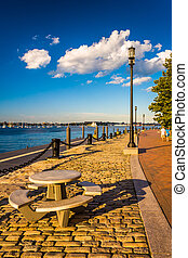 The Boston Harborwalk along Fort Point Channel, in Boston,...