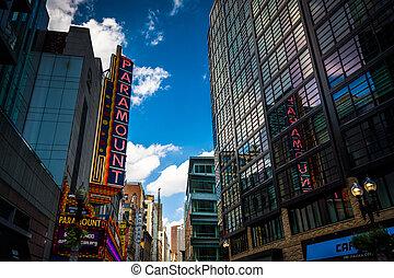 Paramount Theater, along Washington Street in Boston,...